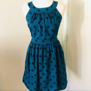 Fervour Modcloth Polka Dot Teal Halter Dress